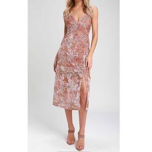 Lulu's Velvet Burn-Out Midi Dress
